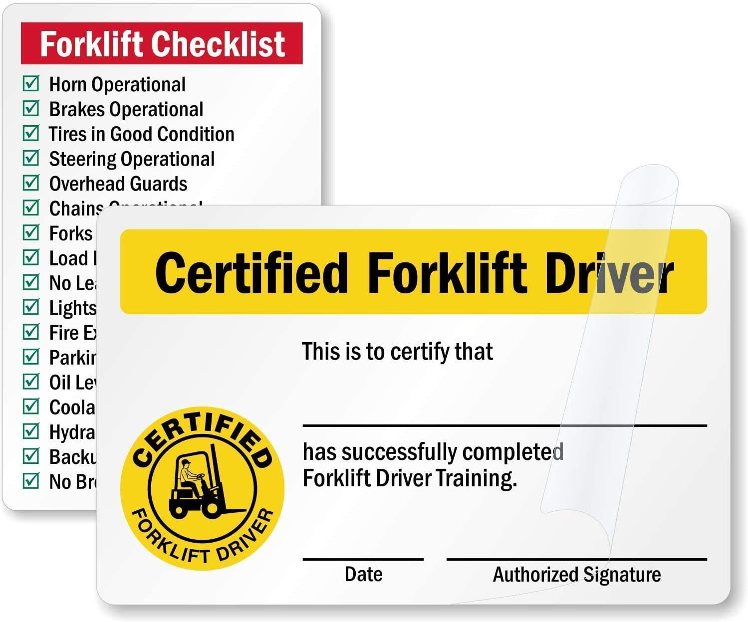 Amazon Com Smartsign Certified Forklift Driver Forklift Checklist 2 Sided Forklift Certification Wallet Card 2 125 X 3 375 Self Laminating Everything Else