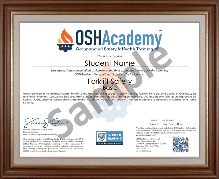 156 Forklift Safety Basic Oshacademy Free Online Training