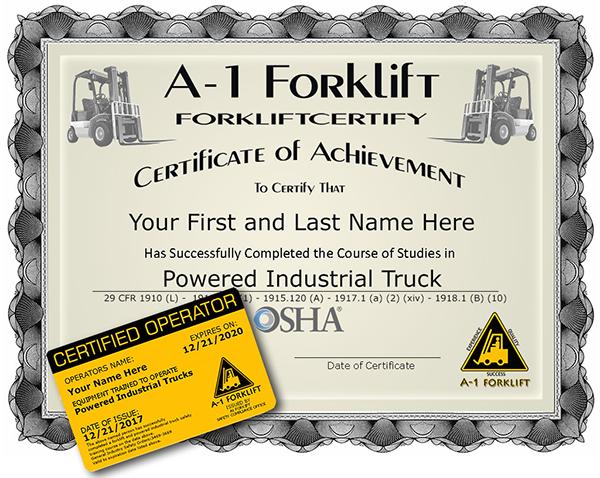 A 1 Forklift Certification Training Courses Osha Calosha Compliant